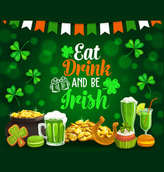 patricks holiday food and drinks golden coins vector image