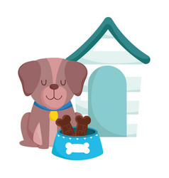 pet shop cute dog sitting with collar food vector image