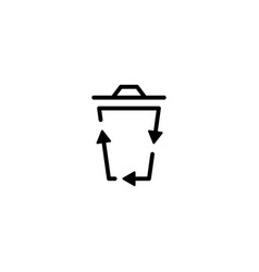 recycle bin logo icon organic line outline vector image