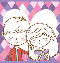 romantic love couple cute portrait background vector image