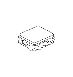 sandwich line icon black vector image