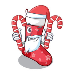 santa with candy cute christmas socks isolated on vector image