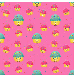 seamless pattern cute cupcakes vector image