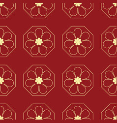 seamless pattern golden flower with red background vector image