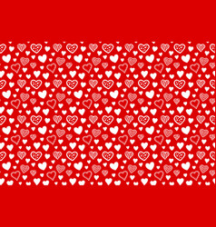 seamless pattern with hearts on red background vector image