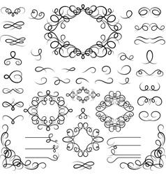 Set curled calligraphic design elements vector