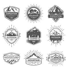 Set nine mountain and outdoor adventures vector