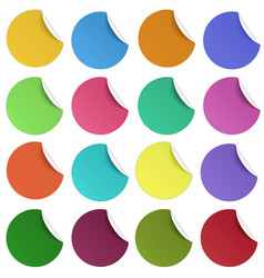 set of glaring color round paper stickers vector image