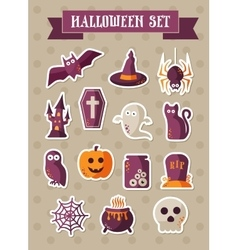 Set of halloween icons sticker vector image