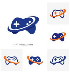 set of joystick game logo concept template design vector image
