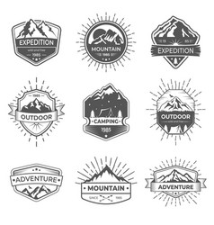set of nine mountain and outdoor adventures vector image