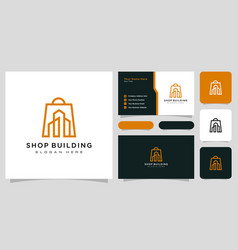 shop building logo line style design vector image