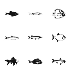 Species of fish icons set simple style vector image