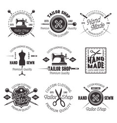 tailor shop black emblems labels badges vector image