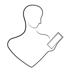 the outline of a man with a smartphone in his hand vector image