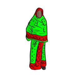 Thin african woman with green red local costume vector