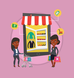 Two women doing shopping online vector