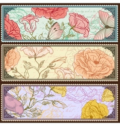 Vintage banners with handdrawn roses vector