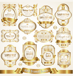 White gold-framed labels vector