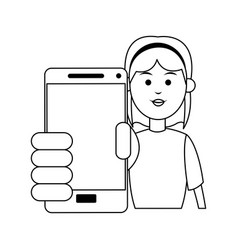Woman holding smartphone icon image vector