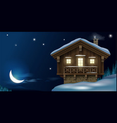 Wooden house in winter mountains vector