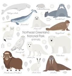 Arctic animal set White polar bear narwhal vector image vector image