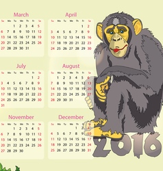 calendar 2016 year of the monkey vector image