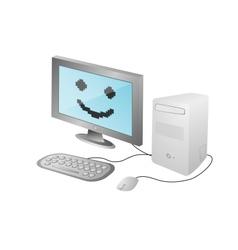 cartoon home computer vector image vector image
