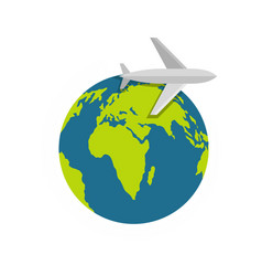 plane on earth icon flat style vector image