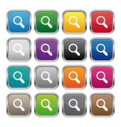 Search metallic square buttons vector image vector image