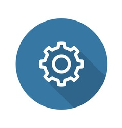 Settings Icon Gear with Blue Background vector image