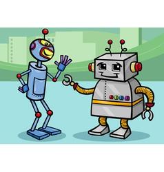 talking robots cartoon vector image