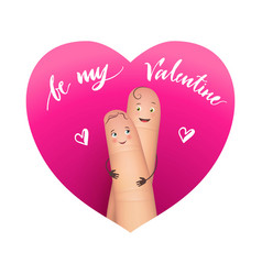 two fingers couple in heart isolated on white vector image