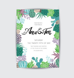 wedding graphic set with succulentswreath and vector image vector image
