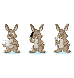 Brown Bunny Mascot with laptop vector image vector image