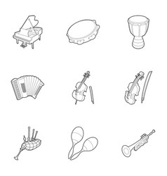device for music icons set outline style vector image