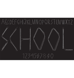 Handwritten alphabet with letters and numbers vector image vector image