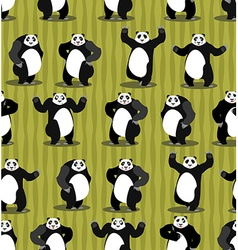 Panda seamless pattern Chinese bear ornament Set vector image vector image