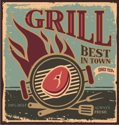Retro BBQ poster template with fresh beef steak vector image vector image