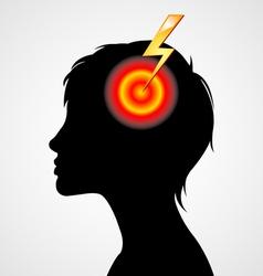 Terrible headache silhouette vector image vector image