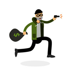 thief in a mask running with a gun and money bag vector image