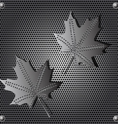 metal shield maple leaf background with rivets vector image