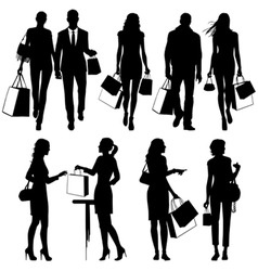 shopping people silhouettes vector image vector image