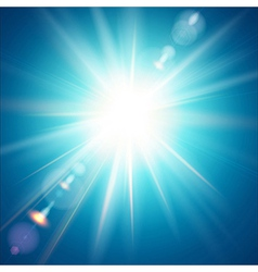 The bright sun shines on a blue sky background vector image vector image