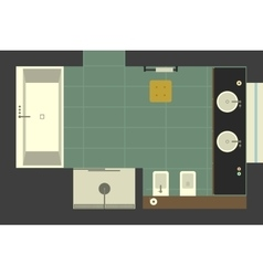 Bathroom in flat style top view vector image vector image