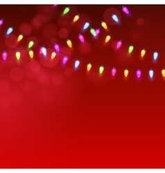 Christmas Red background with luminous garland vector image vector image
