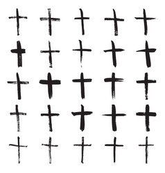 hand painted christian crosses vector image