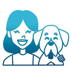 woman with dog cartoon vector image
