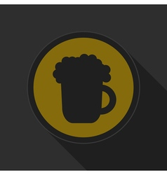 Yellow round button - black beer with foam icon vector