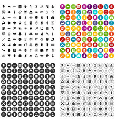 100 anatomy icons set variant vector image